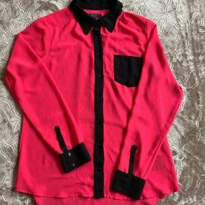 Guess Hot Pink and Black button up blouse